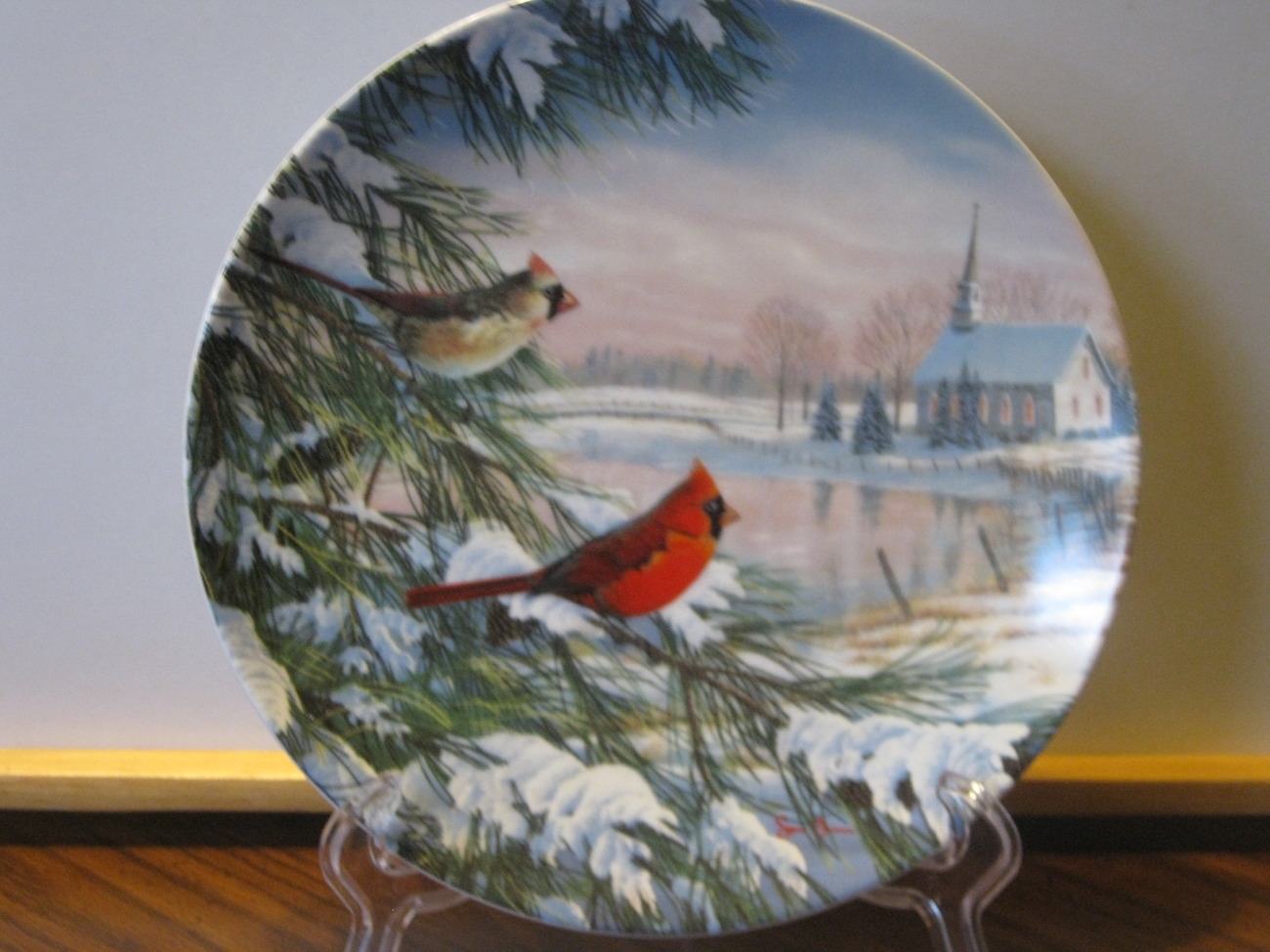 "Knowles China Collector Plate - ""Cardinals In Winter""-1990, Pair on Snowy Pines"