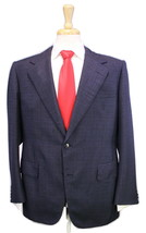 * LORD & STEWART * Savile Row Bespoke Navy Blue Textured Slub Bespoke Su... - $227.50