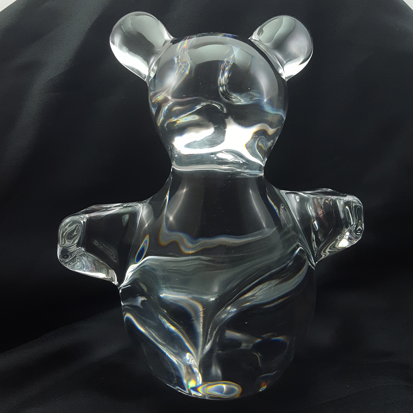 "Daum Teddy Bear Clear Sculpted Glass Large 7"" Figurine Paperweight"