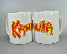 Kahlua White Pair Raised Lettering Coffee Mug Cups 8 Ounce  - $11.99
