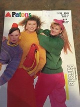 New Vtg Patons Knitting Pattern Women's Teens Chunky Sweaters 8520 1986 Parade - $7.79