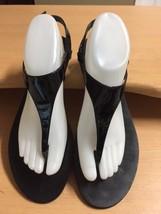 Lauren by Ralph Lauren Black T Strap Sandals Sz 9.5 Edie Genuine Patent ... - $27.77
