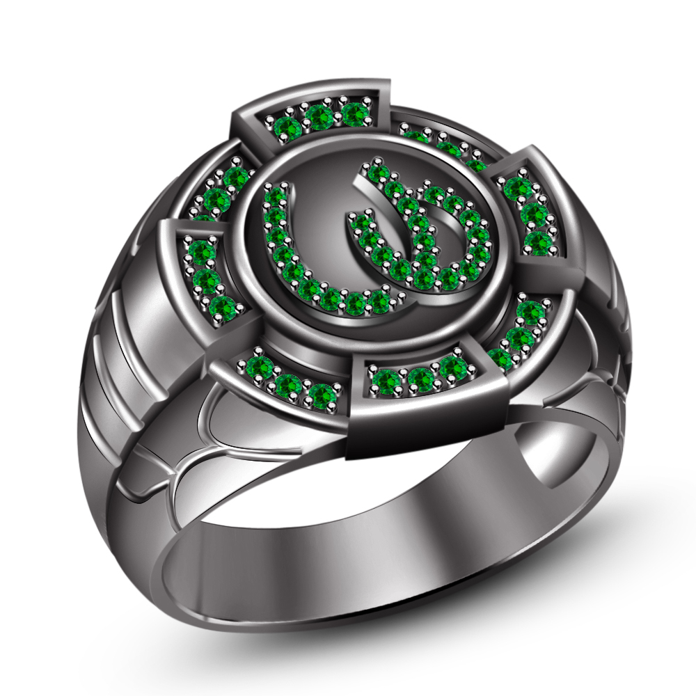 Primary image for Men's SPL 14k Black Gold Plated 925 Silver Round Green Sapphire Horseshoe Ring 9