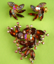 1950s Large Rhinestone brooch set - signed clip on earrings - sugar ston... - $135.00
