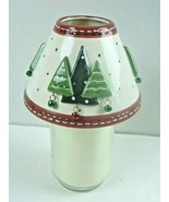 Large Candle Topper Ceramic Shade Christmas Tress with Bells Candle NOT ... - $15.88