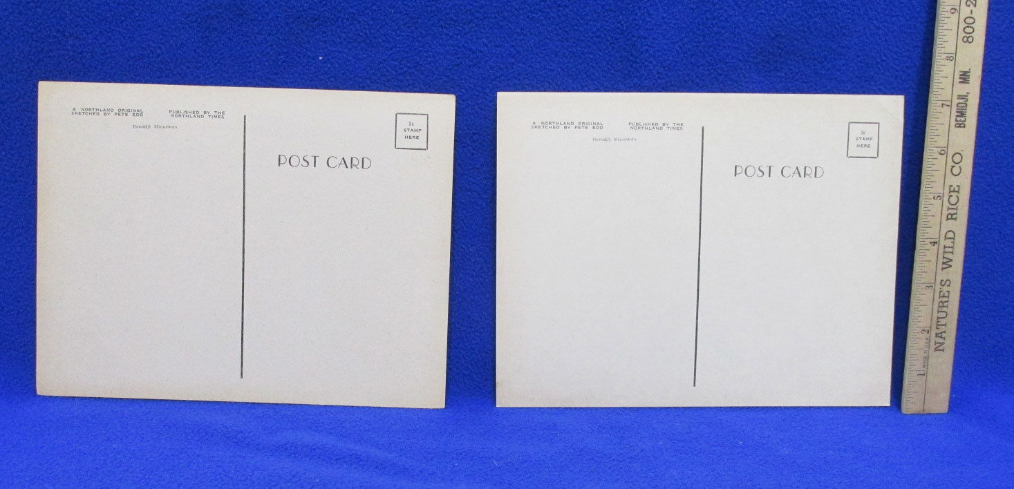 Paul Bunyan & Babe Blue Ox Giant Postcards Set 2 Vintage Buck Artist Pete Edd image 2