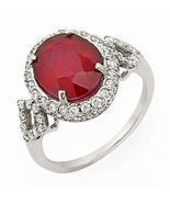 Estate ring 5.2 ct natural ruby and diamond 14k gold - $875.00