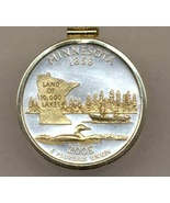 State of Minnesota, Gold on Silver, Quarter Pendant Necklace, Gold Fille... - $85.00