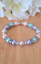 Pastel Purple Blue and Pink Glass Pearl Bead Stretch Bracelet - $23.00