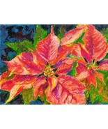 POINSETTIA, Christmas flower, Original painting by Akimova, still life - $21.00