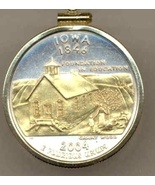 State of Iowa, Gold on Silver, U.S.Quarter Pendant Necklace, Gold Filled... - $85.00