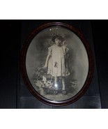 Convex Oval Framed Photo Little Girl and Flower... - $49.99