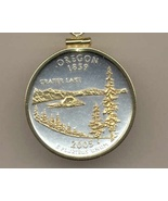 State of Oregon, 2-Toned, Gold on Silver, Quarter Pendant Necklace Gold ... - $85.00
