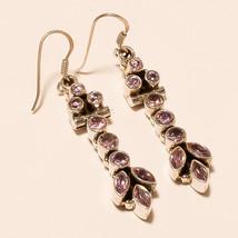 Natural Pink Amethyst Gemstone Handmade 925 Sterling Silver Dangle Drop ... - $27.86