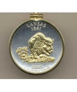 Kansas, 2-Toned, Gold on Silver, U.S. Quarter Pendant Necklace Gold Fill... - $85.00