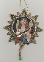 Victorian Angel Playing Lute Christmas Decoration - $4.80