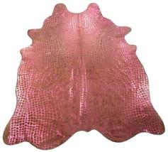 Pink Crocodile Cowhide Rug: 7.5' X 5.5' Beige/Pink Embossed Cowhide Rug ... - $216.81