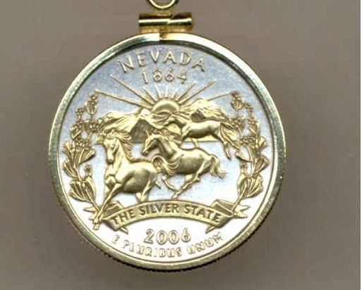State of Nevada , 2-Toned, Gold on Silver, U.S. Quarter Pendant Necklace