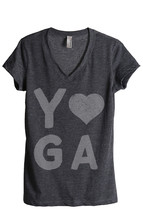 Thread Tank Yoga Heart Women's Relaxed V-Neck T-Shirt Tee Charcoal - $24.99+