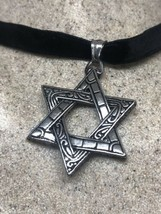 Vintage Deco Star Of David Pendant Choker Necklace Stainless Steel image 2