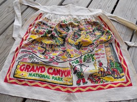 VINTAGE CACTUS CLOTH APRON Grand Canyon Nat'l Park 1940s SOUVENIR RETRO ... - $19.00