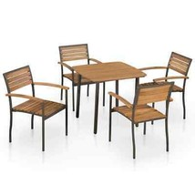 vidaXL 5 Piece Solid Acacia Wood Outdoor Dining Set Steel Table Stacking... - $250.99