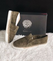 ✨New Vince Camuto Tambie Slip On Sneakers Suede Olive Womens Size 7.5M $99 Nib - $50.32