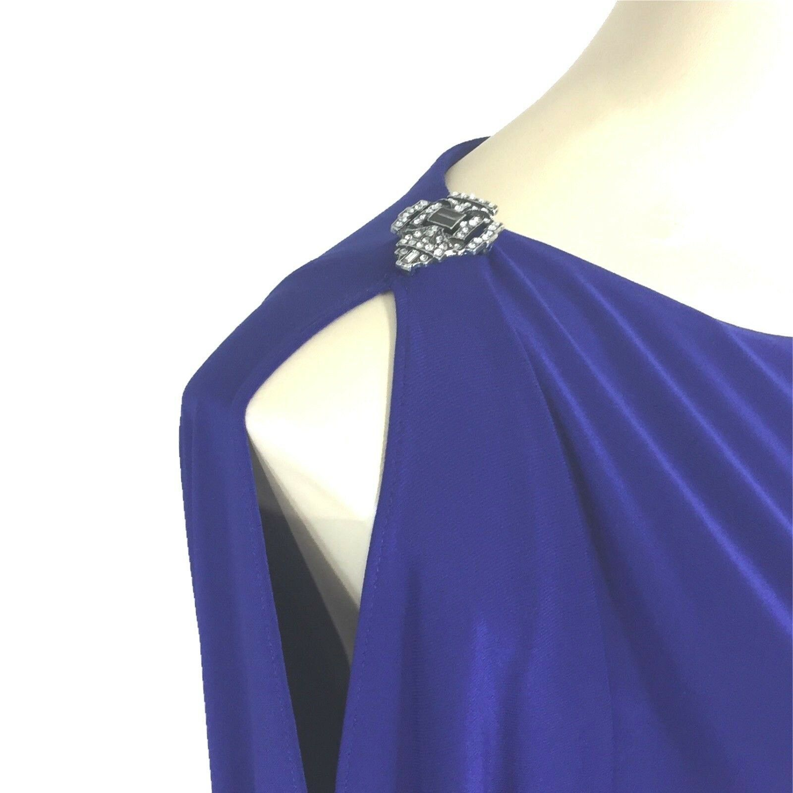 Ralph Lauren Evening Dress 14 XL Dark Blue Rhinestone Bling Open Sl Cocktail LN