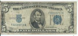 $5 Mule Silver Certificate 1934A F-A Block Fine Blue Seal  931 # F00169213A - $51.20