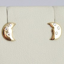Yellow Gold Earrings 750 18k with moons, moon, Long 0.7 cm, with Zirconia image 1