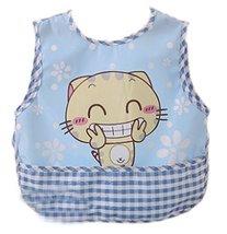 Smile Cartoon Cat Waterproof PVC Feeding Baby Bibs Blue