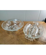 Vintage Anchor Hocking Footed Bowl And Divided Relish Tray Depression Gl... - $22.51