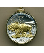 State of North Dakota, Gold on Silver,Quarter Pendant Necklace Gold Fill... - $85.00