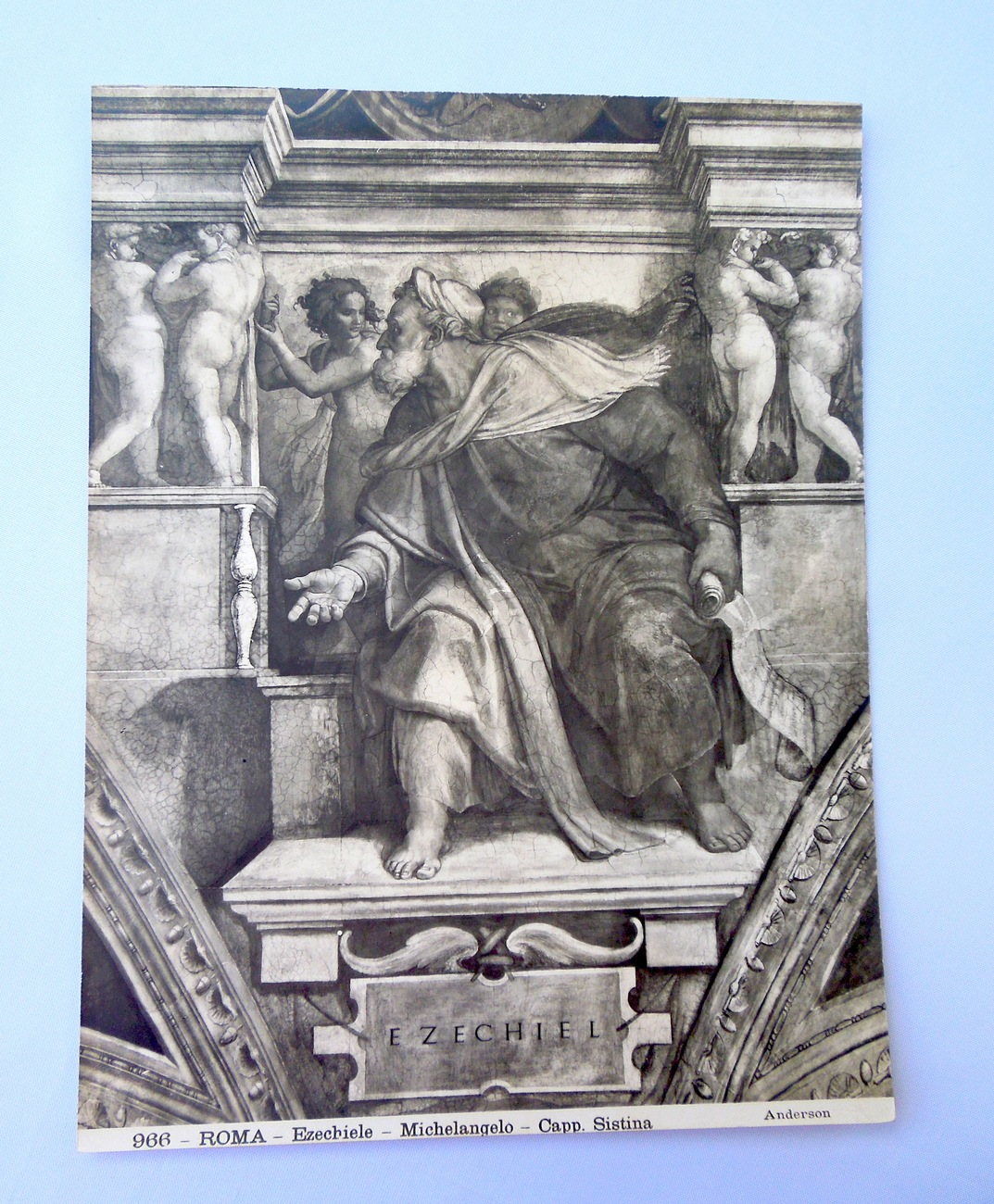 Upstairs dresser drawer   antique print appears to be heliogravure on  cardboard like paper ezechiel at  sistine chapel by michelangelo  marked roma and numbered 966 and