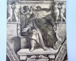 Upstairs dresser drawer   antique print appears to be heliogravure on  cardboard like paper ezechiel at  sistine chapel by michelangelo  marked roma and numbered 966 and   thumb155 crop