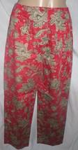 Talbots Petites red taupe & black floral print pants 2 - $15.95
