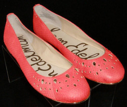 Sam Edelman Leighton coral leather perforated round toe ballet flats 7.5... - $46.43