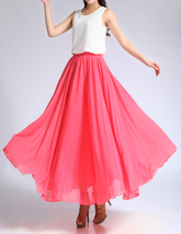 Melon Red Chiffon Skirt High Waisted Beach Chiffon Skirt Plus Size image 1