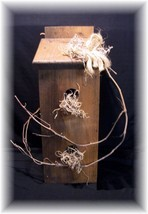 PRiMiTiVe HANDCRAFTED DECORATIVE WOODEN BIRDHOUSE - $14.95