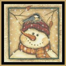 Snowman I holiday winter christmas cross stitch chart Mystic Stitch - $14.40