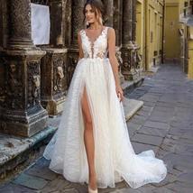 Glittery Princess Side Split V Neck Appliques Lace Boho Wedding Dress image 5