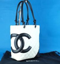 e6c7bb83a867cb Auth CHANEL White Black Lambskin Cambon Line Medium Tote Hand Bag Purse  9444560 - $939.51
