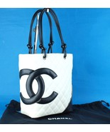 Auth CHANEL White Black Lambskin Cambon Line Medium Tote Hand Bag Purse ... - $939.51