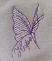 Lilac/Lavender Butterfly HOPE Crew M Orchid Sweatshirt Cancer Aware Unis... - $25.45