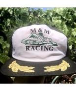 Vtg M&M Racing SnapBack Trucker Hat Go Kart Race Team Gold Leaf New Era ... - $35.53