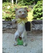 Porcelain cat with book figurine 1950s vintage - $12.99