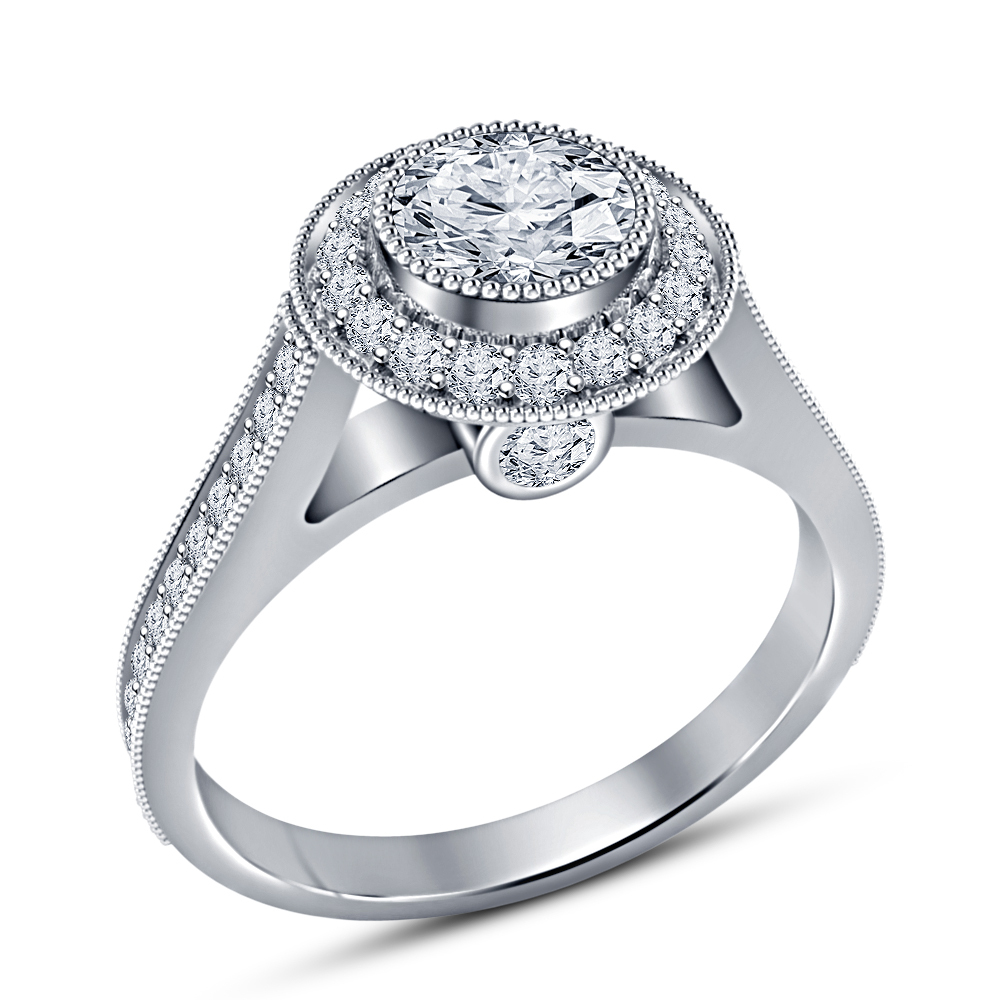 Women's White Gold Plated 925 Sterling Silver Round Cut CZ Women's Wedding Ring