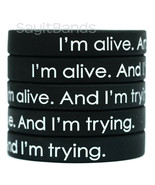 5 Wristbands - I'm alive. And I'm trying. Motivational Silicone Bracelets - £6.40 GBP