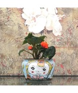 Adorable Hand Painted Ceramic Plant Pot Flower Vase Indoor Planter Home ... - $42.95