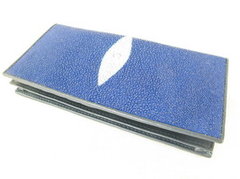 PELGIO Genuine Stingray Shagreen Skin Leather Checkbook Long Card ID Wal... - $65.79